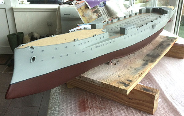 Completed hull with the first section of decking